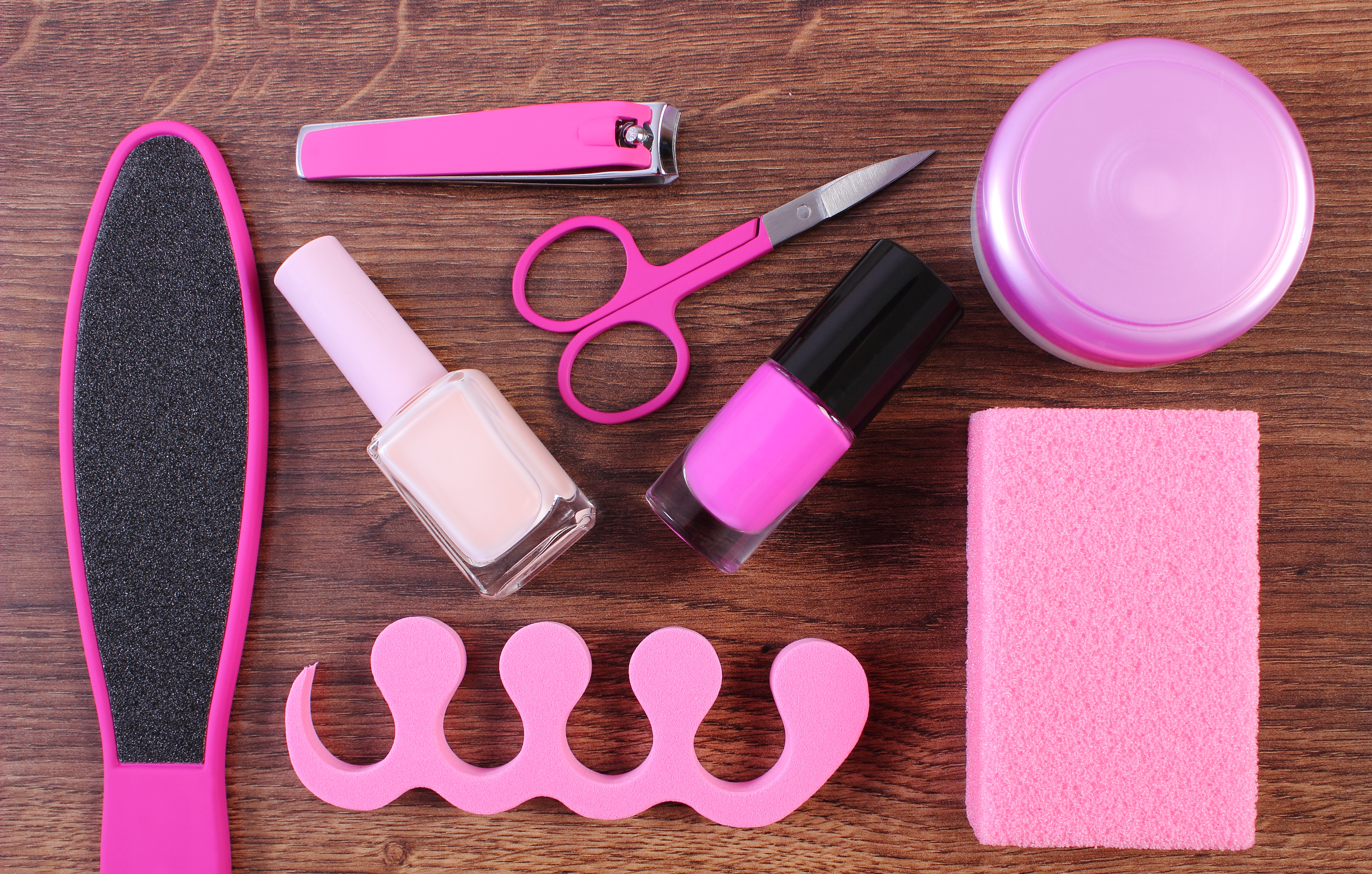 Cosmetics and accessories for manicure or pedicure, concept of nail, hand and foot care