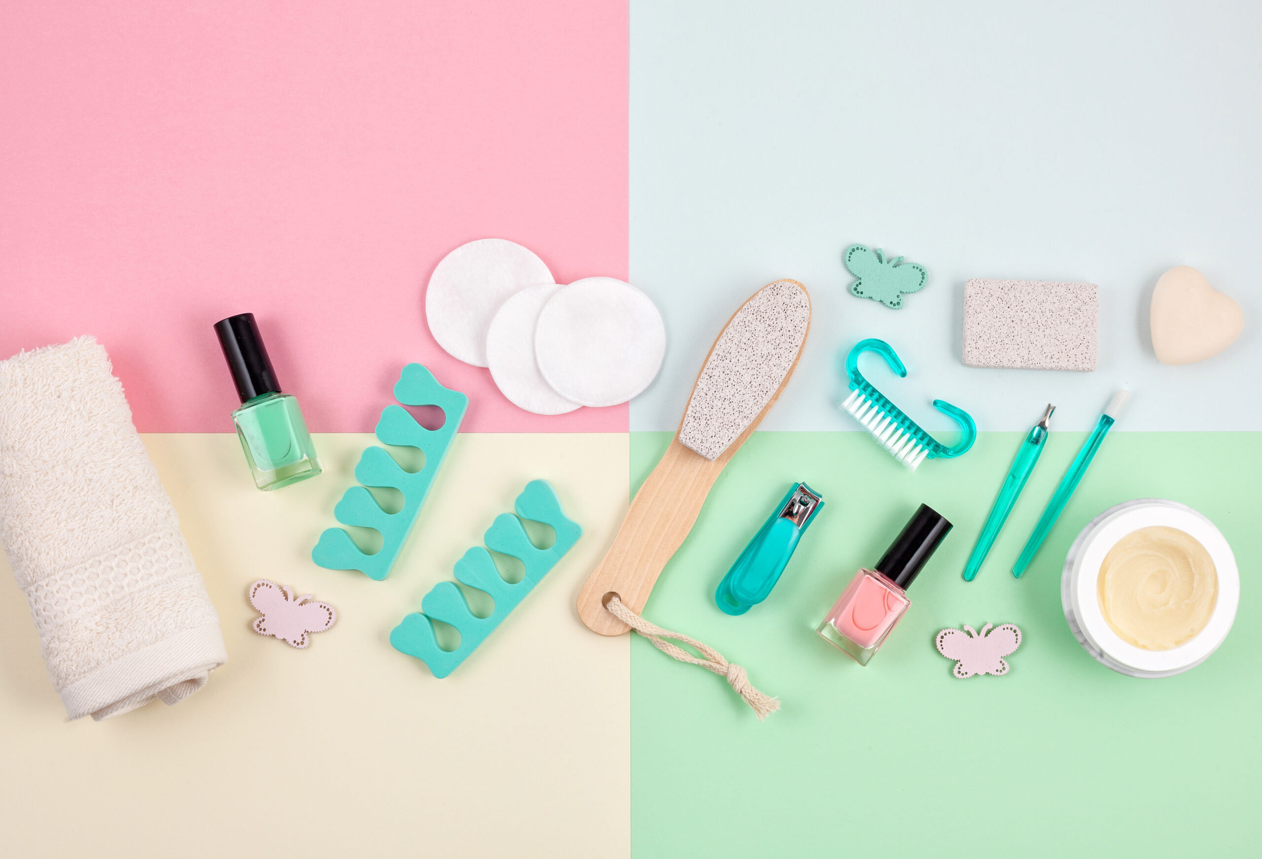 Mockup of beauty cosmetic products for manicure, pedicure, feet and hands care, flat lay, top view. Woman beauty fashion image for sales, shopping, fashion and beauty blogs